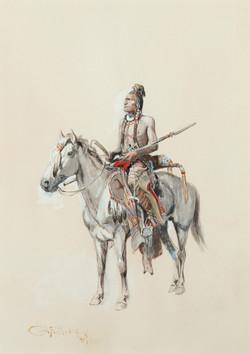 Indian on Horseback. 14 x 11 inches