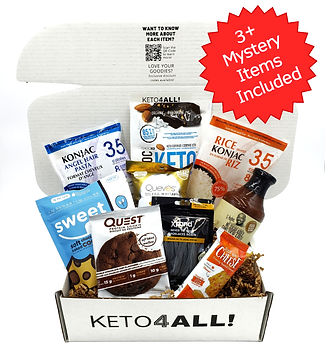 Keto July Box filled with keto-friendly sweets, sauces, and snacks