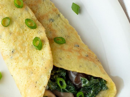 Keto Savoury Crepes with Creamy Mushrooms & Kale