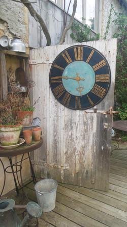 horloge 80cm bleu et or
