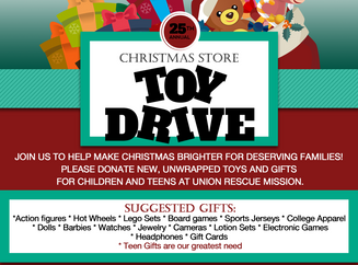 Holiday Hours & Toy Drive December 2017