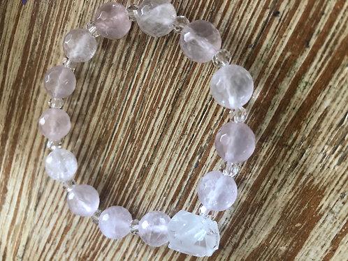 Rose Quartz/Clear Quartz Faceted Gemstone Bracelet