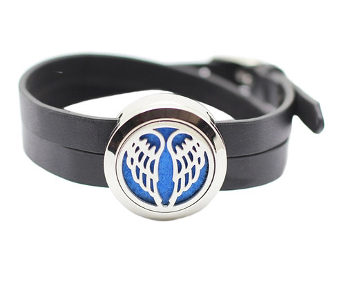 Aromatherapy black leather bracelet