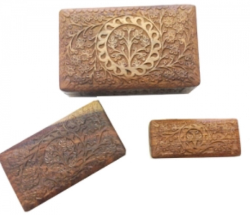 Tree of life carved wooden box set