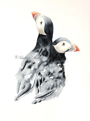 Puffins - unframed original watercolour