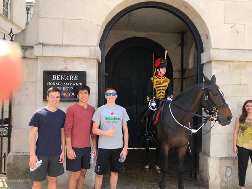 The Boys posing while touring England