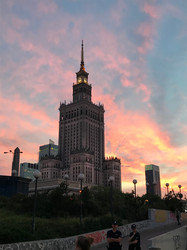 Palace of Culture and Science at Sunset