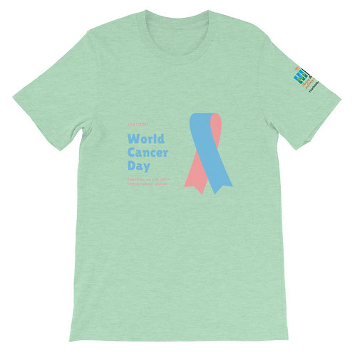 World Cancer Day Blue & Pink Ribbon Unsex T-Shirt