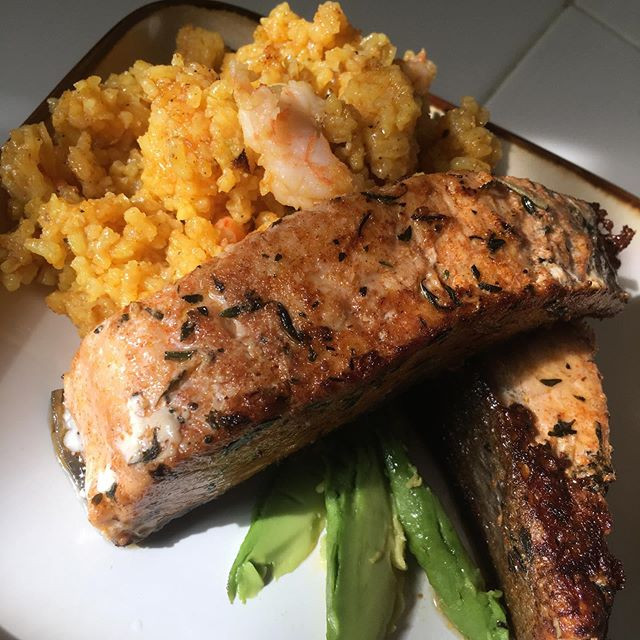 Turmeric and Shrimp Rice with Rosemary and Thyme Seasoned Cast Iron Fried Salmon with Avocado