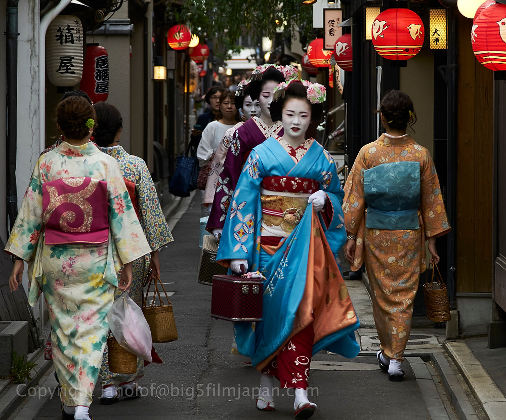 Maiko and geiko performers in old Kyoto