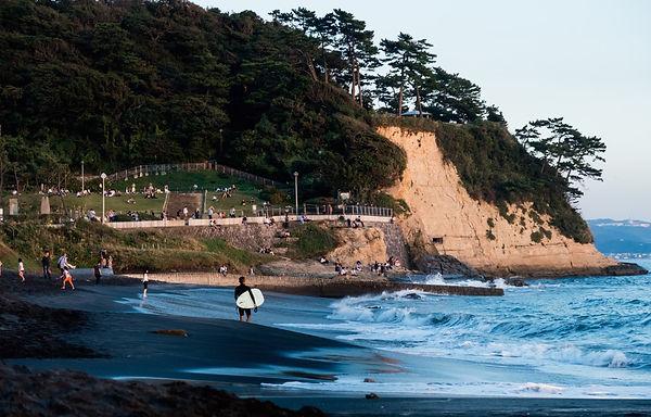 Surfing east of Tokyo in  Japan, Kamakura