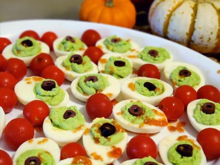Healthy Halloween Snack - Deviled Egg Zombie Eyes