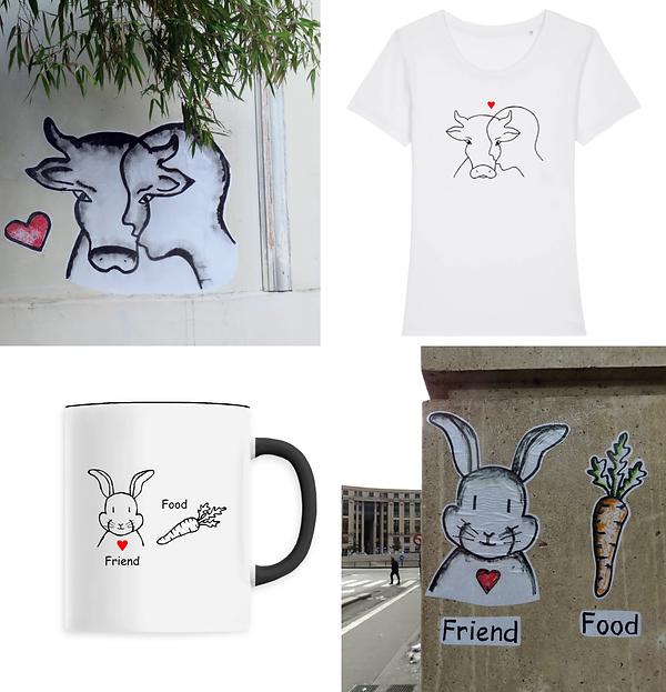 CARRE 4 produits street art blanc tshirt