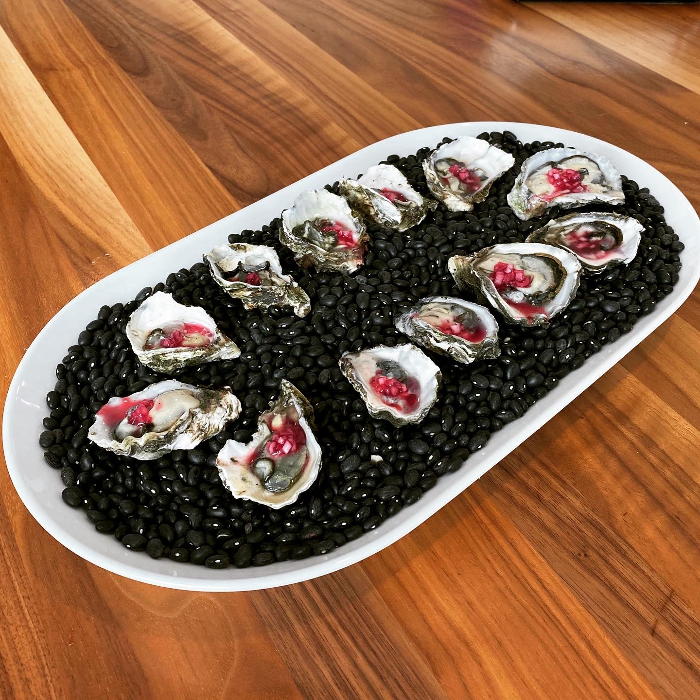 Kumamoto Oysters with Calamansi and beet