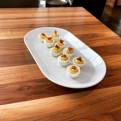 Deviled eggs with crispy country ham