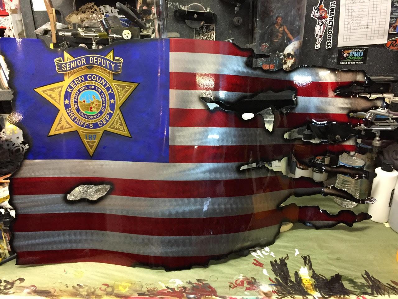 RWB Flag with Police Shield