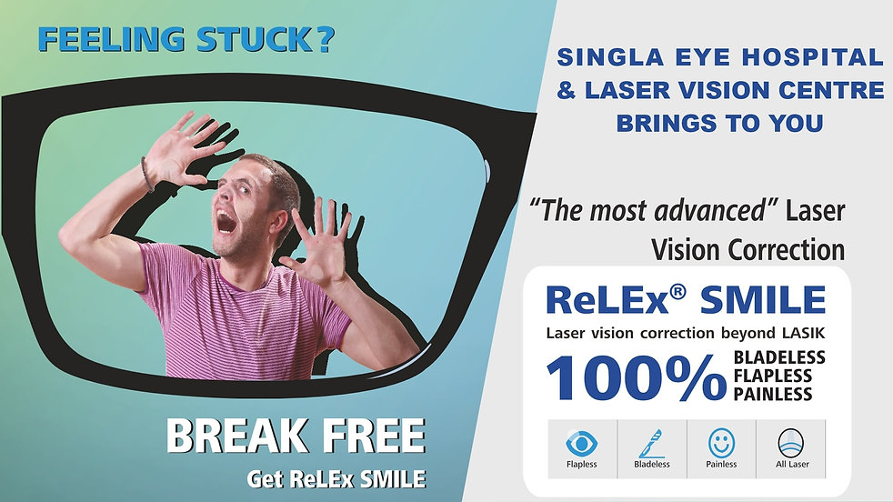 Feeling stuck in glasses. SMILE Glass sticker. Singla Eye Hospital and Laser Vision Centre, Kotkapura, Punjab