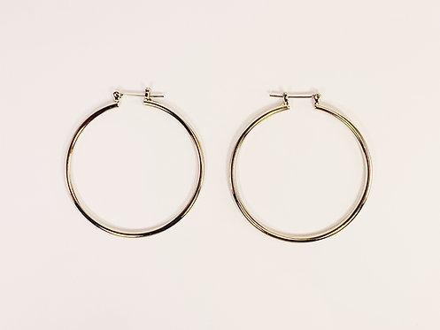 Medium Silver Round Hoop