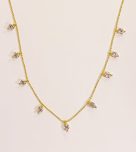 Gold CZ Stud Necklace
