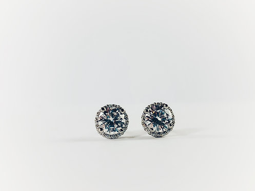 Silver Small Round CZ Stud