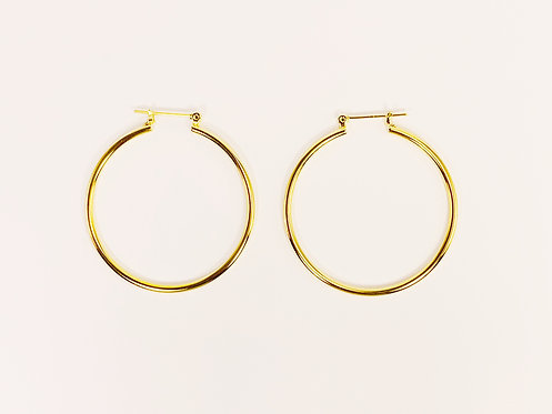 Medium Gold Round Hoop