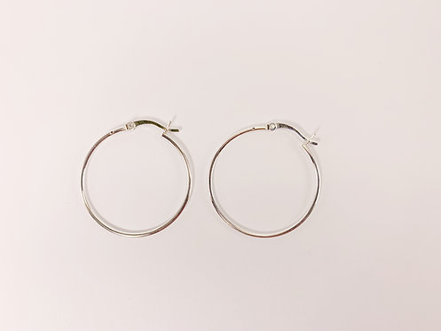 Medium Sterling Silver Round Hoop