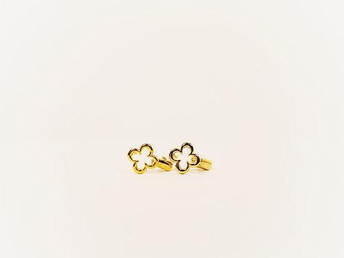 Gold Mini Clover Huggie