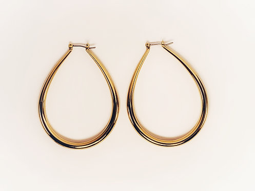 Gold Large Oval Hoop