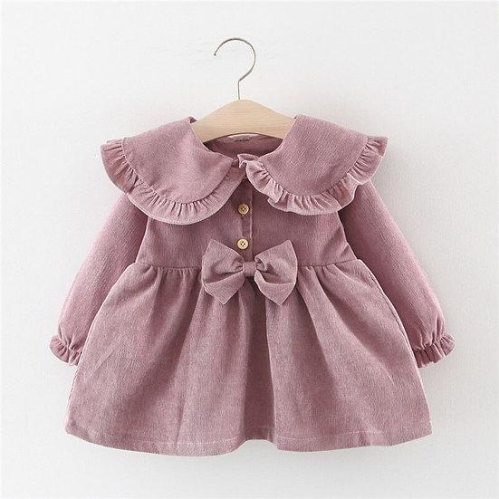 Spring-themed Long Sleeve Dress For Baby Girls