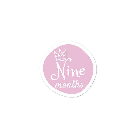 Nine Months Baby Milestone Bubble-free sticker