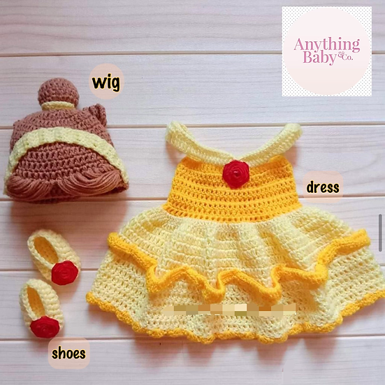Princess Belle Hand Knitted Costume Set