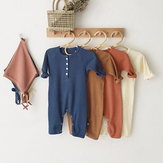 Comfortable Cotton Solid Color Baby Rompers
