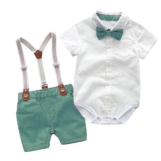 Gentleman Birthday Suit Romper + Belt Pants Set