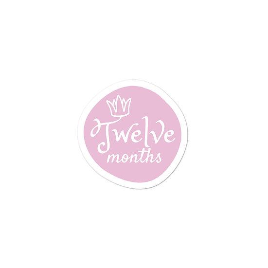 Twelve Months Baby Milestone Bubble-free sticker