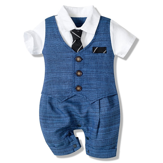 Baby Boy Gentleman Romper Outfit With Tie