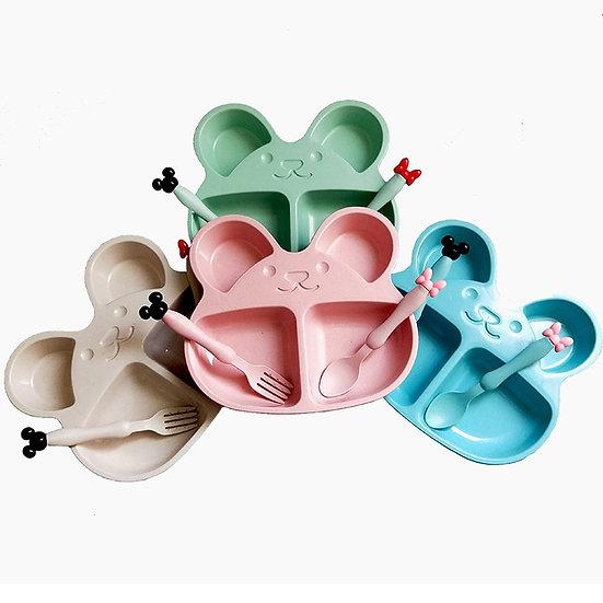 Cute Bear Kids Baby Training Bowl Tableware Set