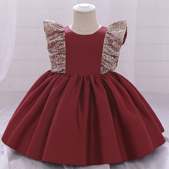 Small Flying Sleeve Sequins Openwork Dress For Girls