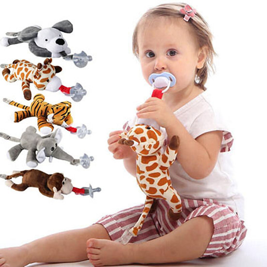 Plush Animal Doll Baby Pacifier With Chain Clip For Babies