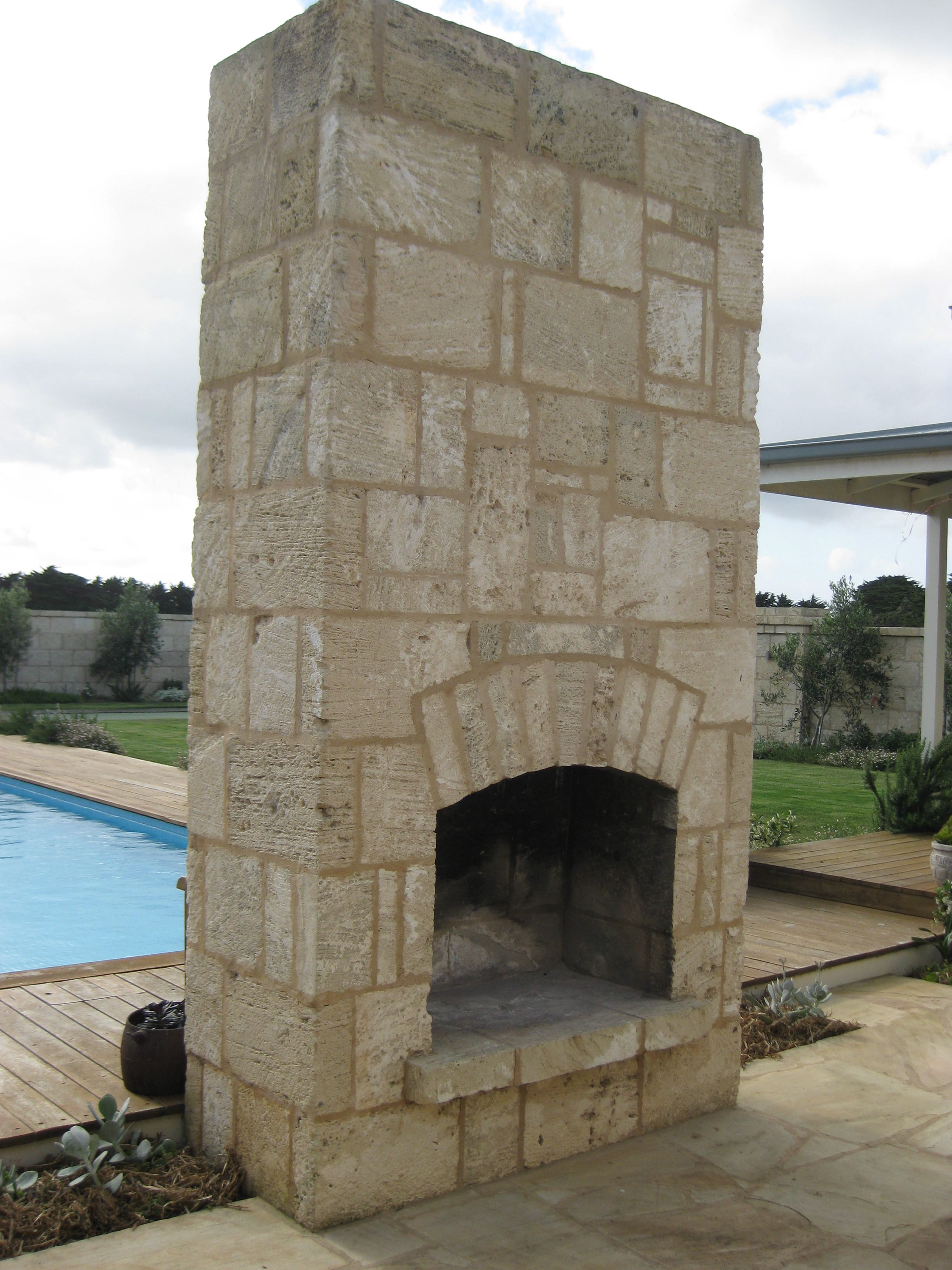 Outdoor Fireplace using Limestone Cladding