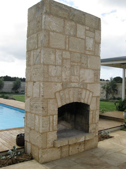 Outdoor Fireplace using Limestone Cladding