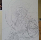 Drawing, transferred to canvas