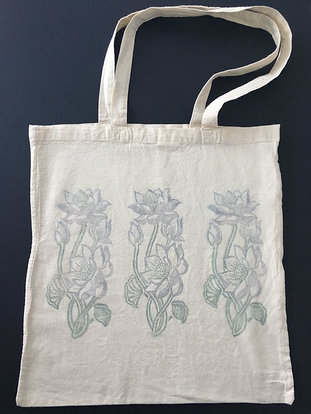 Tote bag, Lotus prints on both sides