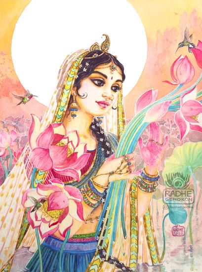 Sri Radhika in lotus pond