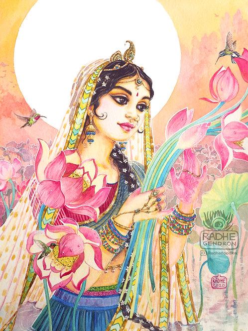 Sri Radha in Lotus pond
