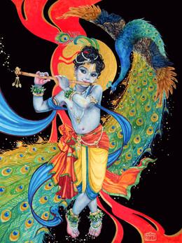 Krishna with dancing peacock