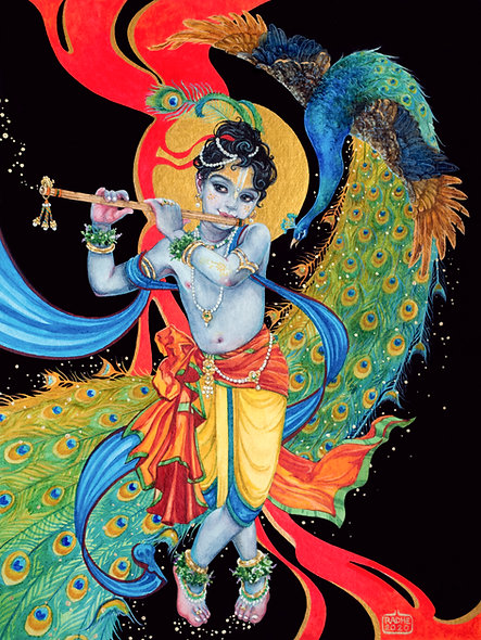 Krishna with dancing peacock