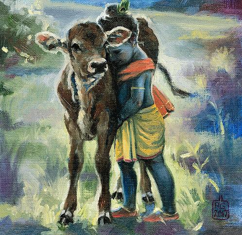 Krishna hugging his calf