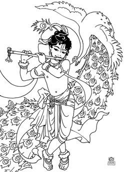 Krshna with dancing peacock