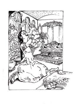 Mother Yashoda and baby Krishna
