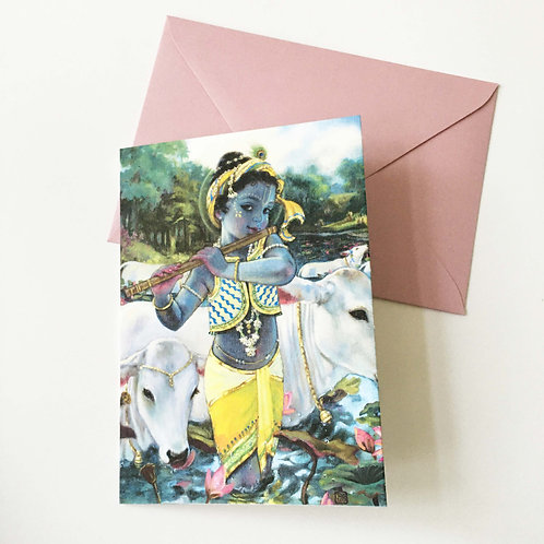 Greeting card with Pearlescent envelope - Gopal crossing